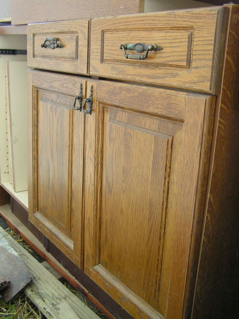 the oak cupboards