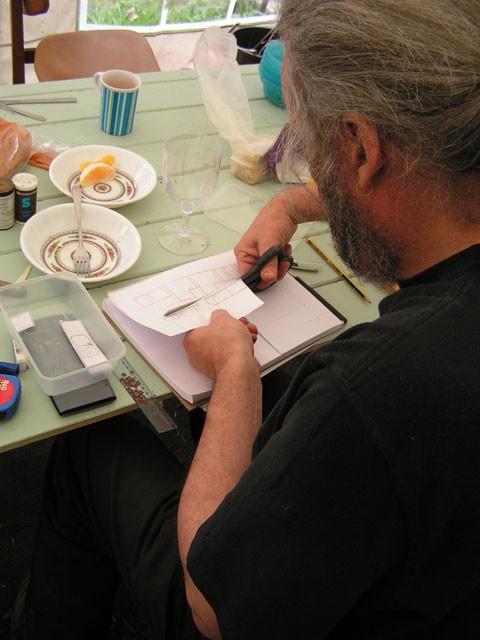 Alec making the layout plan