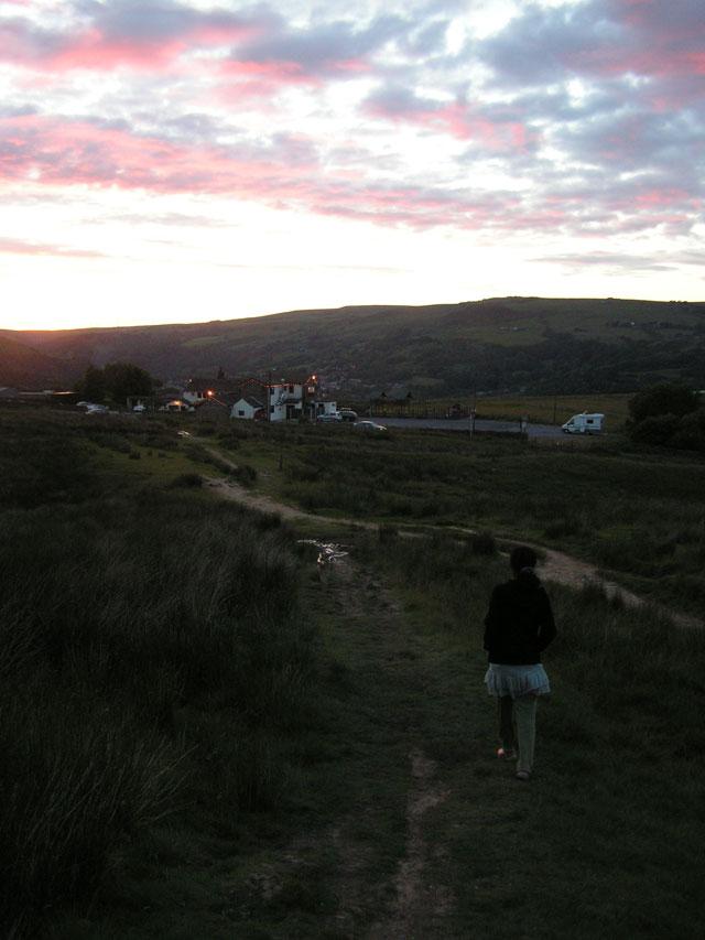Walking back in sunset