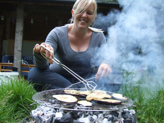 Grace cooking aubergine