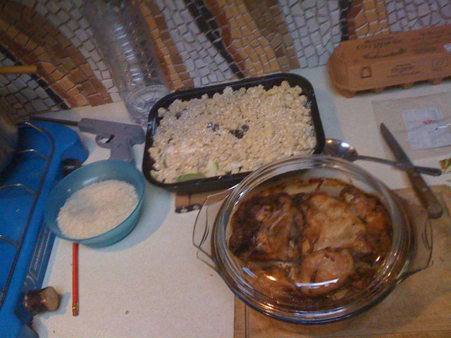 slow-cooked chicken, rice and apple crisp