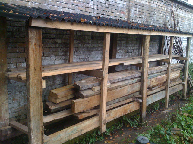 the woodstore ready for logs