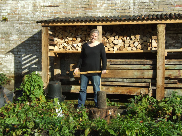 Grace chopping wood