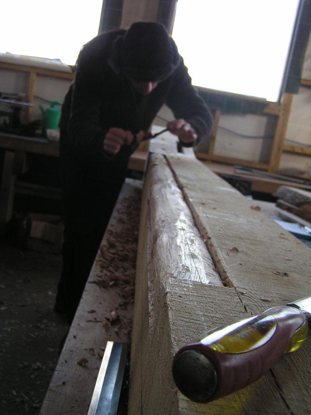 Steven shaving wood