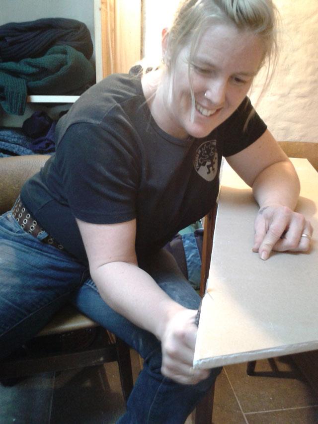 Me cutting plasterboard