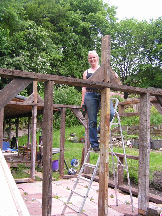 putting up the ridgepole