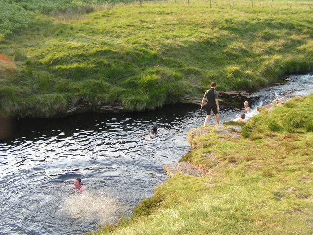 swimming at slippery stones