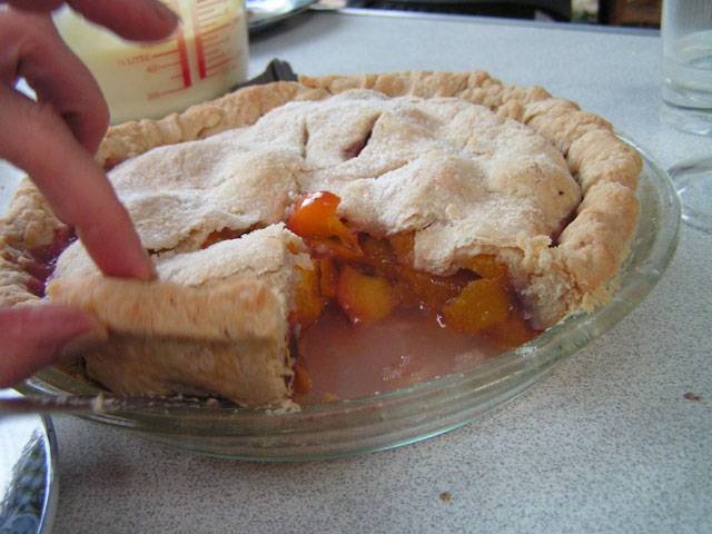 the pie, cut