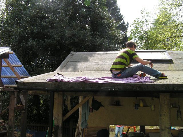 Anna sorting out the gutters