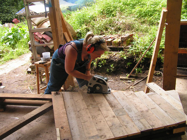 Sawing the siding