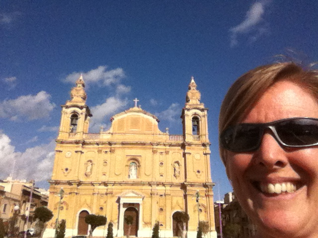 Arrived Valletta area, saw first church